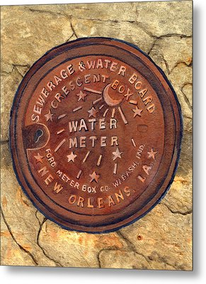 Crescent City Water Meter Metal Print by Elaine Hodges