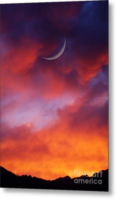 Metal Print featuring the photograph Crescent Moon In Purple by Joseph J Stevens