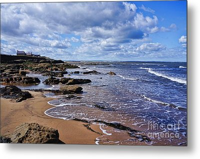 Metal Print featuring the photograph Cresswell Beach And Rocks - Northumberland Coast  by Les Bell