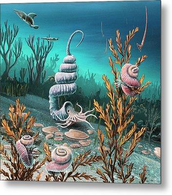 Cretaceous Heteromorph Ammonites Metal Print by Richard Bizley
