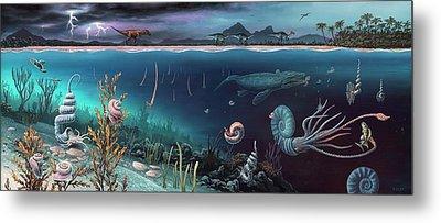 Cretaceous Land And Marine Life Metal Print by Richard Bizley