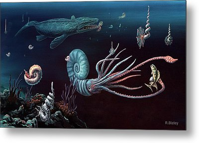 Cretaceous Marine Animals Metal Print by Richard Bizley