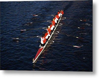 Crew Boat At Head Of Charles Regatta Metal Print by Panoramic Images