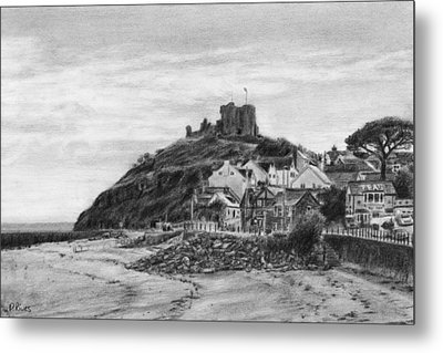 Criccieth Beach Wales Uk Metal Print