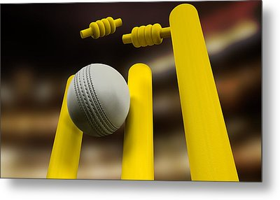 Cricket Ball Hitting Wickets Night Metal Print