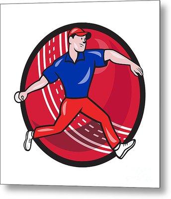 Cricket Bowler Bowling Ball Cartoon Metal Print by Aloysius Patrimonio
