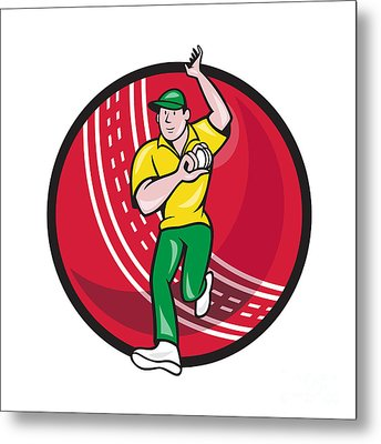 Cricket Fast Bowler Bowling Ball Front Cartoon Metal Print by Aloysius Patrimonio