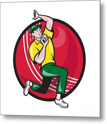 Cricket Fast Bowler Bowling Ball Side Metal Print by Aloysius Patrimonio