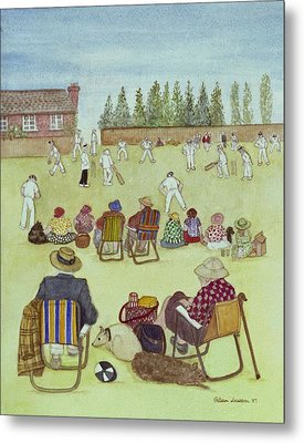 Cricket On The Green, 1987 Watercolour On Paper Metal Print by Gillian Lawson