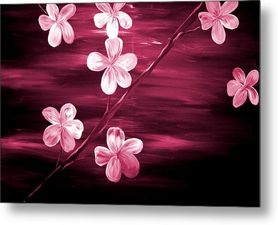 Crimson Cherry Blossom Metal Print