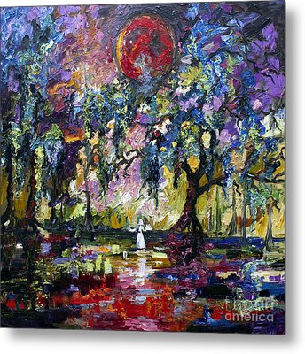 Crimson Moon Over The Garden Of Good And Evil Metal Print by Ginette Callaway