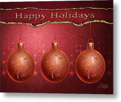 Crimson Ornaments Metal Print by Arline Wagner