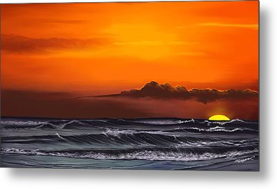 Metal Print featuring the drawing Crimson Sunset by Anthony Fishburne