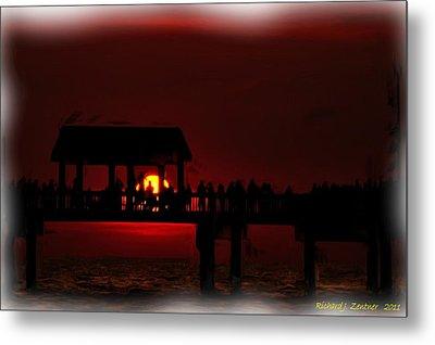 Metal Print featuring the digital art Crimson Sunset Painting by Richard Zentner