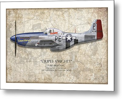 Cripes A Mighty P-51 Mustang - Map Background Metal Print