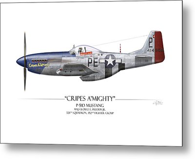 Cripes A Mighty P-51 Mustang - White Background Metal Print