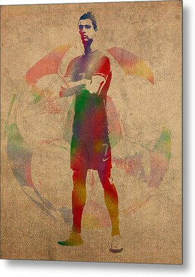 Cristiano Ronaldo Soccer Football Player Portugal Real Madrid Watercolor Painting On Worn Canvas Metal Print