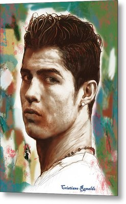 Cristiano Ronaldo Stylised Pop Art Drawing Potrait Poster Metal Print