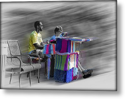 Crochet Piano Man Metal Print by Bill Cannon
