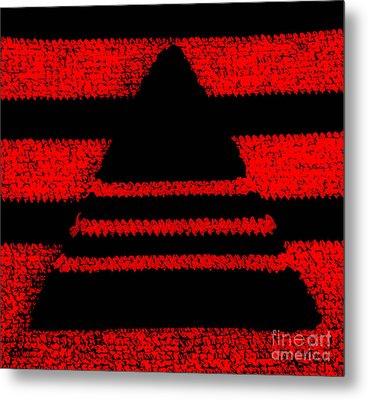 Crochet Pyramid Digitally Manipulated Metal Print by Kerstin Ivarsson