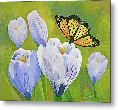 Crocus And Monarch Butterfly Metal Print