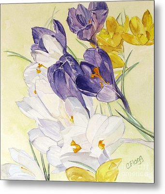 Metal Print featuring the painting Crocus by Carol Flagg