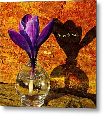 Crocus Floral Birthday Card Metal Print by Chris Berry