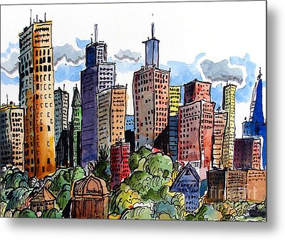 Crooked City Metal Print