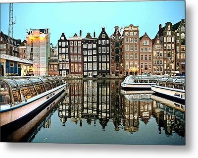 Crooked Houses On The Canal Metal Print by Brent Durken
