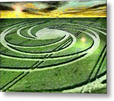 Crop Circles In Field Metal Print