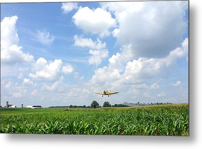 Yellow Crop Duster Metal Print by Charles Kraus