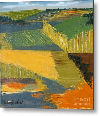 Metal Print featuring the painting Crop Fields by Erin Fickert-Rowland