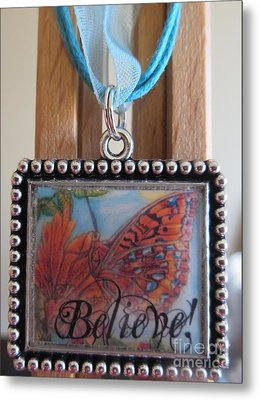 Believe...a Colorful Butterfly Lights Upon A Tiger Lily In A Necklace Metal Print by Kimberlee Baxter