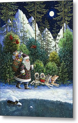 Cross-country Santa Metal Print