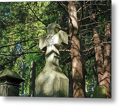 Cross In The Forest Metal Print by Felix Concepcion