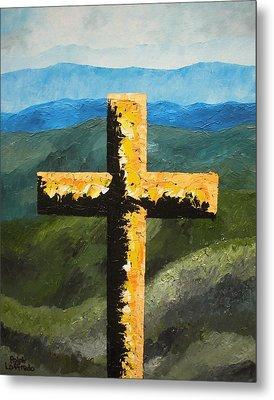 Cross Of The Mountain Ridges Metal Print by Ralph Loffredo