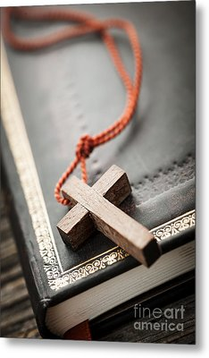 Cross On Bible Metal Print by Elena Elisseeva