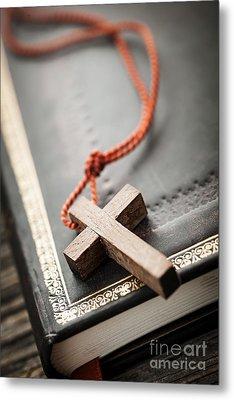 Cross On Bible Metal Print