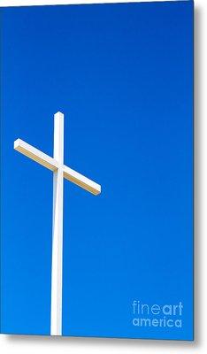Cross On Blue Sky Metal Print