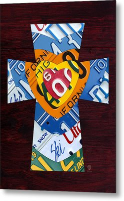 Cross With Heart Rustic License Plate Art On Dark Red Wood Metal Print by Design Turnpike