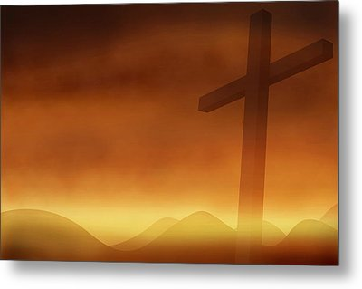 Cross With The Sunset  Background Metal Print by Somkiet Chanumporn