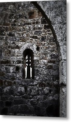 Crosses And Stone Walls At Clonmacnoise Metal Print