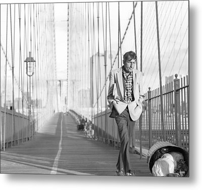 Crossing Brooklyn Bridge Metal Print by Dave Beckerman
