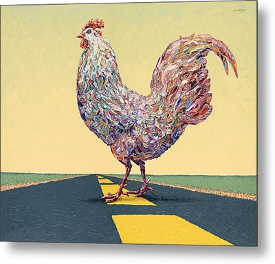 Crossing Chicken Metal Print