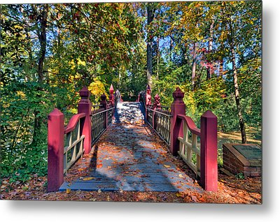 Crossing The Crim Dell Bridge Metal Print