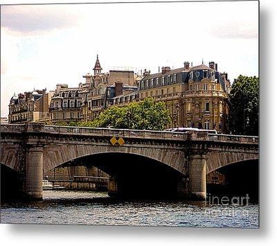 Crossing The Seine Metal Print by Lauren Leigh Hunter Fine Art Photography