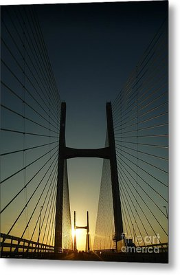Crossing The Severn Bridge At Sunset - Cardiff - Wales Metal Print by Vicki Spindler