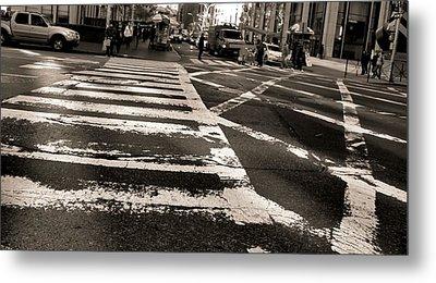 Crosswalk In New York City Metal Print by Dan Sproul