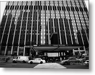 Crosswalk Leading To Penn Station And Madison Square Garden Seventh Avenue New York City Metal Print by Joe Fox