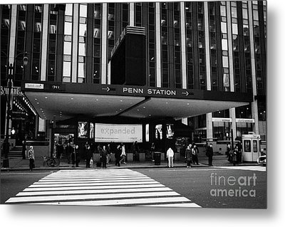 Crosswalk Leading To Penn Station And Madison Square Garden Seventh Avenue New York Metal Print